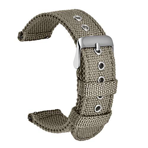 Ullchro Nylon Correa Reloj Calidad Alta Correa Relojes Militar del ejército - 18mm, 20mm, 22mm, 24mm Correa Reloj con Hebilla de Acero Inoxidable (20mm, Gray)
