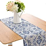 jinchan Table Runner Damask Medallion Printed Tablecloth for Kitchen Flax Linen Textured Medallion Design 1 Panel Blue 13 Inch by 55 Inch