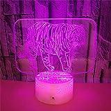 Wild Animal Tiger 3D Atmosphärenlicht Acrylplatte Atmosphärenlicht Schlafzimmer LED...
