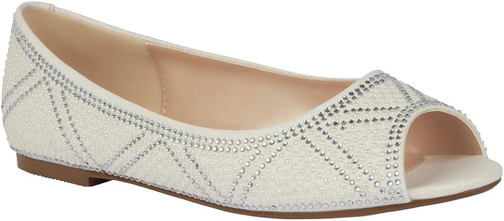 Details about  /Cambridge Select Women/'s Slip-On Faux Pearl Crystal Rhinestone Open Toe Flat Sli
