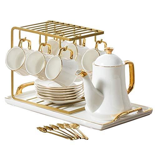 Británica Taza de cerámica del café Conjunto Europeo de escasa Casas de Lujo Simple de cerámica Tarde Juego de té Taza de té de la Tetera Conjunto de Bandeja (Color : B)