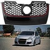 WJYCGFKJ ABS Parrilla de Rejilla de Estilo de Diamante Frontal, Negro Mate Parrilla Frontal de Autos para Volkswagen Golf MK5 GTI 2006-2009.
