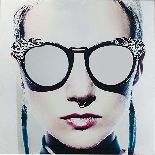 Kare Design Bild Glas Metallic Girlie 120x120cm, stylisches Glasbild mit integrierten Spiegeln, großes, rechteckiges Wandbild mit Frauenmotiv, inkl. Wandhaken (H/B/T) 120x120x4