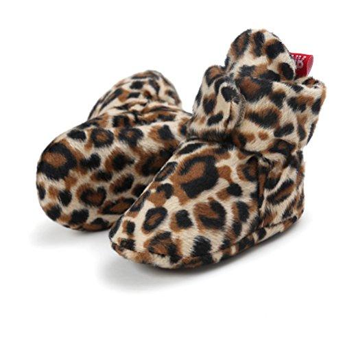 EDOTON Unisex Neugeborenes Schneestiefel Weiche Sohlen Streifen Bootie Kleinkind Stiefel Niedlich Stiefel Socke Einstellbar (0-6 Monate, Leopard)