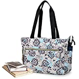 CURMIO Teacher Tote Bag for Women, Portable Teacher Work Bag with Padded Sleeve and Compartments for Laptop, School Supplies, Ideal Gifts for Teachers, Dandelion, Bag Only