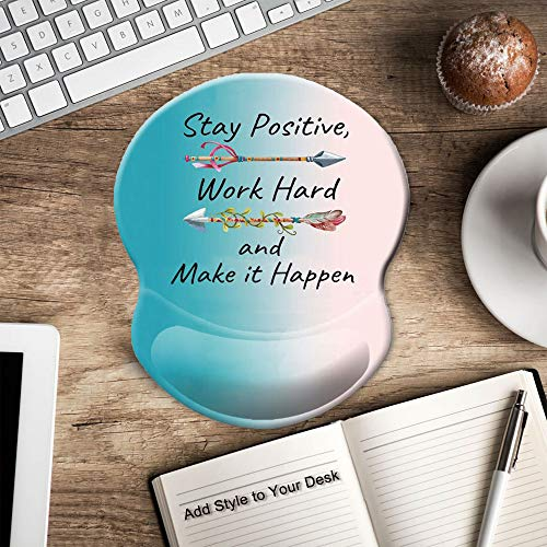 ITNRSIIET Ergonomic Mouse Pad with Gel Wrist Rest Support, Stay Positive Work Hard and Make It Happen Arrow Print Inspirational Quote Cute Mouse Pad, Pain Relief Wrist Rest Pad with Non-Slip PU Base Photo #4