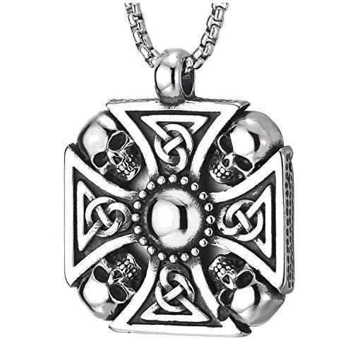 COOLSTEELANDBEYOND Gotische Biker Edelstahl Schädel Kreuz Anhänger mit Keltischer Knoten, Halskette für Herren Jungen, 75cm Weizen-Kette