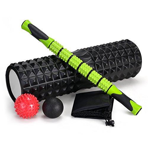 Odoland Faszienrolle Faszien Set 5 IN 1 mit Foam Roller Massageroller Schaumstoffrolle Massagebälle für Faszientraining von Muskeln und Entlastung Muskelkate