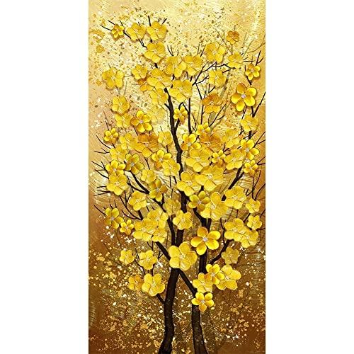 5D Diamond Painting Kits Adultos, tamaño grande Flor de árbol dorado 30x80cm DIY Cristal Grande Bordado Pintura Diamante Artes imagen de Punto de Cruz para Decoración de La pared Del Hogar Regalo