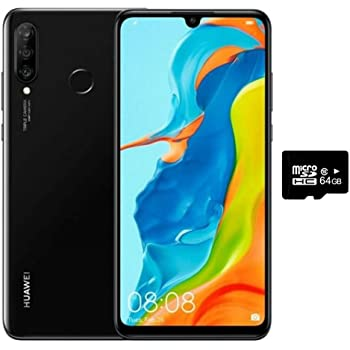 "Huawei P30 Lite (128GB, 4GB RAM) 6.15"" Display, Triple Camera, 32MP Selfie, Dual SIM GSM Factory Unlocked MAR-LX3A - US & Global 4G LTE International Version (Midnight Black, 128GB + 64GB SD Bundle)"