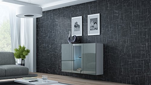 Furniture24 Kommode Sideboard Hängekommode VIGO in MDF Hochglanz Pusch Click Farbauswahl (weiß/grau Hochglanz)