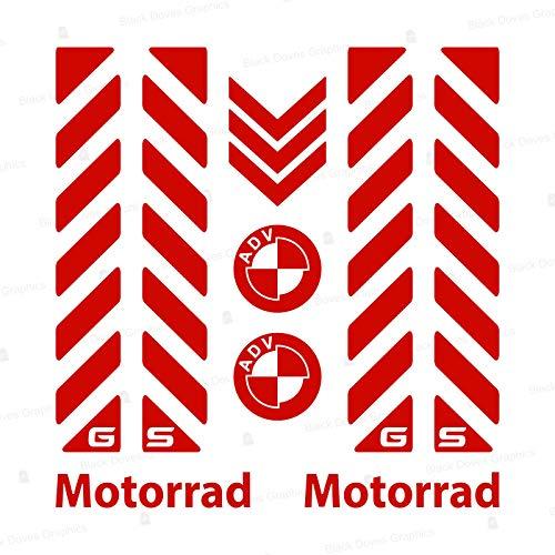 7pcs Kit de Rayas Reflectantes con GS compatibles para Touratech Aluminio Moto BMW Motorrad F650 F700 F800 R1150 R1200 GS GSA Adventure (Red)