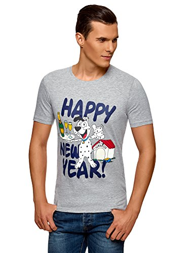 oodji Ultra Hombre Camiseta de Algodón con Estampado Navideño, Gris, ES 46-48 / S