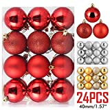 ZOGIN Christmas Ball Ornaments,Assorted Pendant Shatterproof Christmas Baubles Balls Ornaments Set Seasonal Decorations for Festival Holiday Wedding Party Xmas Décor (24pcs/Pack,40mm, Red)