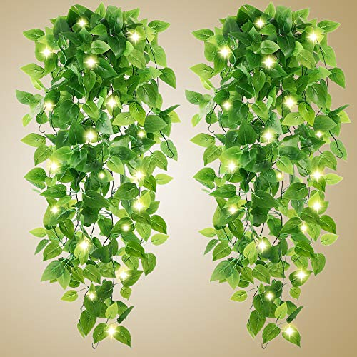 Artificial Hanging Plants - 2pcs Fake Plants Fake Ivy Vine Fake Ivy Leaves Kitchen Plants with 2pcs 20LED Fairy Lights for Wall House Room Garden Wedding Garland Indoor Outdoor Decoration (No Baskets)