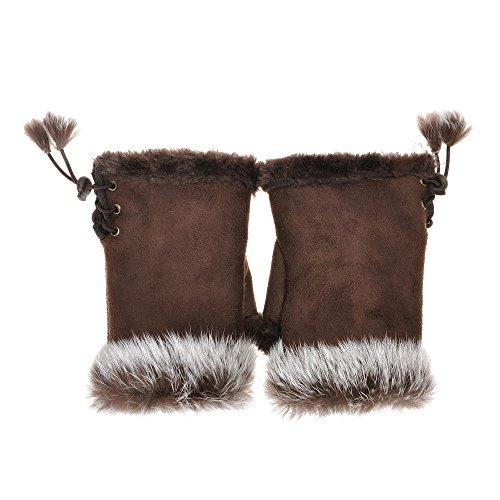 ZLYC Women Teen Classic Winter Warm Rabbit Fur Hands Wrist Fingerless Gloves Mittens Brown