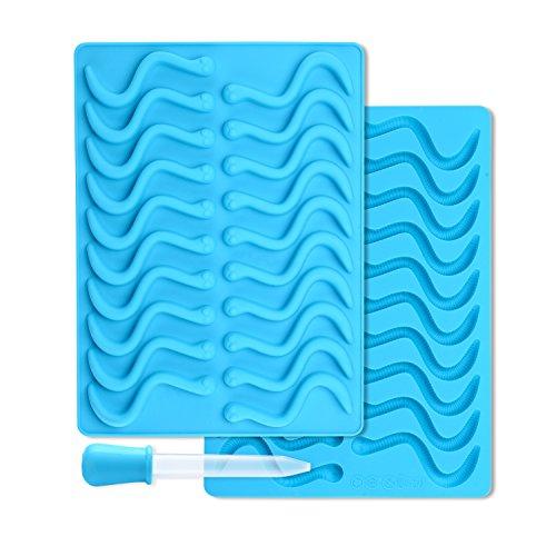 Muziyu 2 Forme in silicone, motivo: vermi, con 2pipette per vermicelli di cioccolato, cubetti di ghiaccio, matite, candele