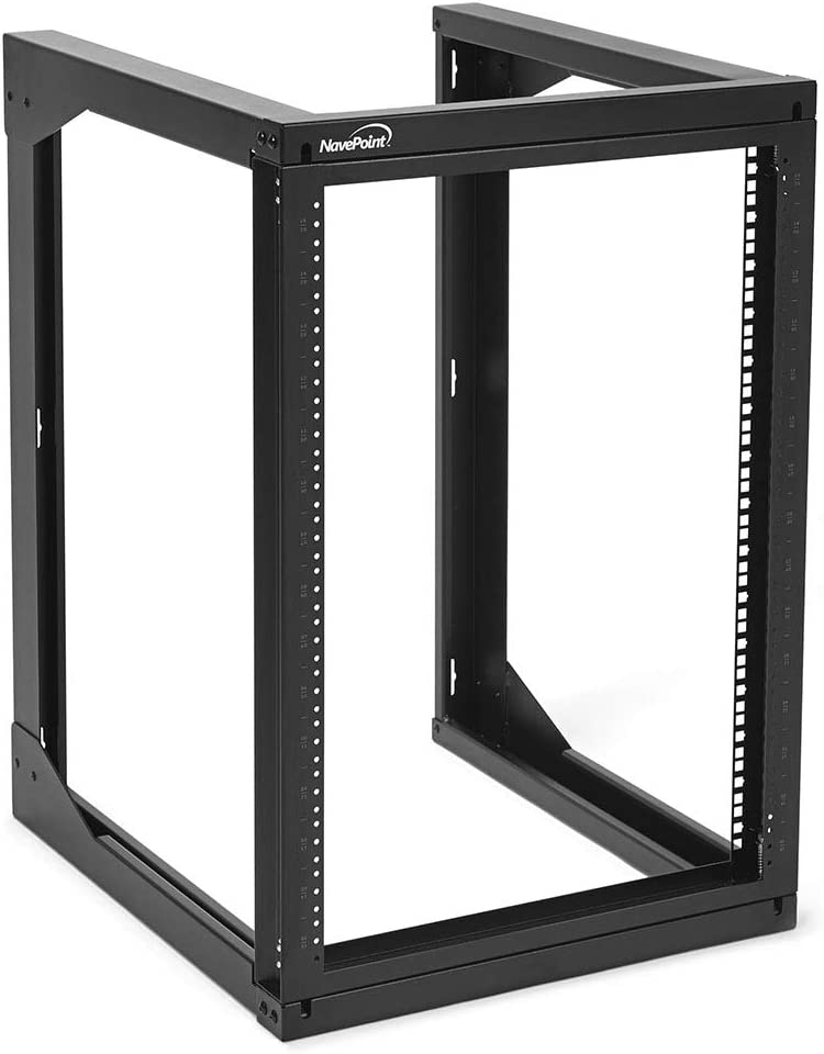 NavePoint 15U Wall Mount Open Frame Network Rack, Swing Out Hinged Gate,24 Inch Depth, Holds Network Servers and AV Equipment, Easy Rear Access to Equipment, Gate Opens 180 Degrees from Either Side
