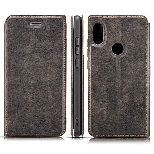 Protector de Pantalla para Xiaomi Redmi 6 Pro Retro Caja de Cuero magnético Ultrafino Simple con Soporte y Ranuras para Tarjetas y cordón, Zhongxianshangmaoyouxiangongsi (Color : Black)