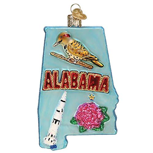 Old-World Christmas Glass Blown Ornament with S-Hook and Gift Box, Travel Collection (State of Alabama, 36272)