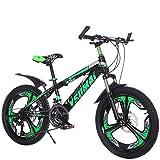 YAOXI Bicicleta De Montaña Bicicleta con Suspensión De Horquilla Absorción De Choque Engranaje 21 Antideslizante Manejar Doble Freno De Disco Sistema De Frenado Niño-Niña Bicicleta,Black/Green,20Inch