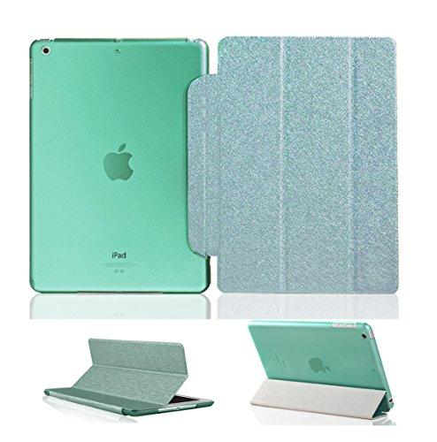 Luch iPad Air Hülle, Glitter Seide Series Schutzhülle Cover Case Etui Tasche mit Hart PC Durchschaubar Rücken Deckel mit Auto Schlaf/Wach Funktion & Standfunktion für Apple iPad Air iPad 5, Grün
