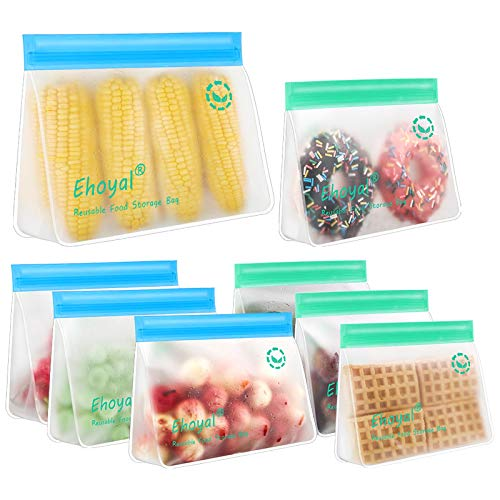 Reusable Storage Bags: Upgrade Stand Up Food Storage Bags, Lunch Bag, Snack Bag, Bpa Free Freezer...
