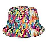 Sombreros de Cubo Estilo Bauhaus Patrón de Formas geométricas como Coloridos Azulejos diagonales Impresión Moderna Sombreros de Sol Casuales para protección UV