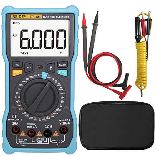 Bside Large LCD Digital Multimeter Manual & Smart Mode Design True RMS 6000 Counts Auto-Ranging Voltmeter Temperature Capacitance AC/DC Current Voltage Battery Tester with Flashlight