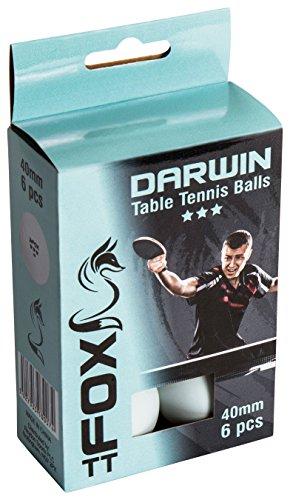 Fox TT Darwin 3Star Pelotas de Tenis de Mesa (6Unidades), Color Blanco