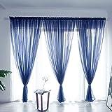 BOYOUTH Cortinas de gasa transparente de color sólido, con bolsillo para barra, para dormitorio, sala de estar, hotel, azul marino, 1 panel, 1 panel de 122 x 250 cm