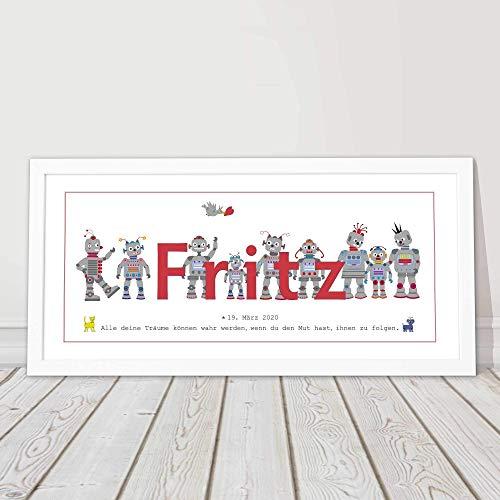 Kinderzimmerbild, Taufgeschenk, Mädchen, Junge, Geburtsgeschenk, Baby Geschenk Geburt, Roboter, personalisiert