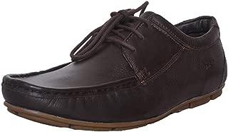 Mardi Gras Men's Dark Brown Leather Lace-up Flats