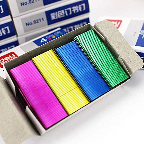 U/K Grapas de colores de Pulabo, grosor de agujas, galvanizadas, que hacen que el juego de 800 grapas de escritorio de larga duración para estudios de oficina sea práctico
