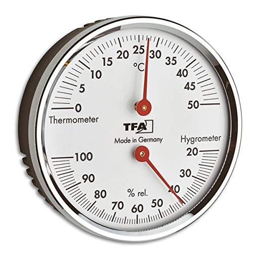 TFA Dostmann Analoges Thermo-Hygrometer, 45.2041.42, mit Metallring, zur Kontrolle von Temperatur und Luftfeuchtigkeit, hergestellt in Deutschland, silber, L120 x B29 x H235 mm