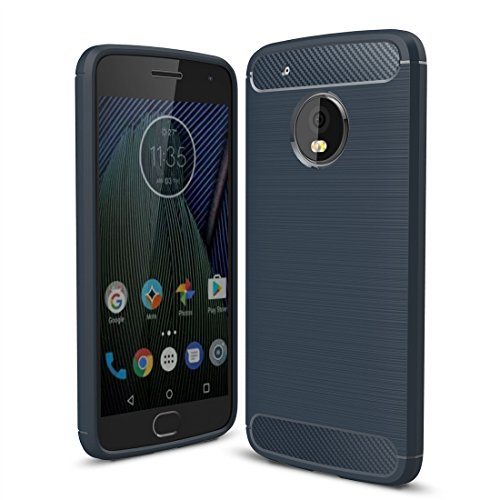 Moto G5 Plus Case, Landee Soft Silicon Resilient Shock Absorption and Carbon Fiber Design Protective Case for Motorola Moto G5 Plus (5.2')-Navy Blue