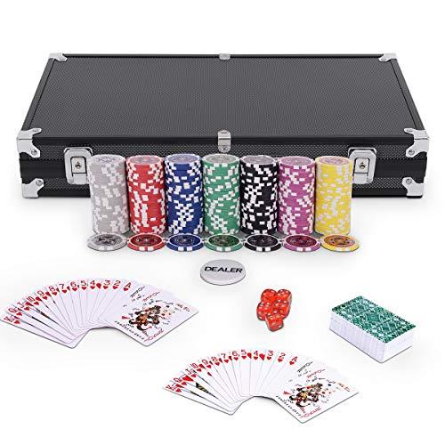 GOPLUS Pockerkoffer Pockerset 300 Chips Pockerchips Pocker Set mit Würfel Pokerkarten (schwarz)