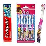 Brush Buddies Barbie Toothbrush (6pk) Bundled Colgate Kids Toothpaste for Children, Kids, Toddlers - (Barbie Bundled- Toothbrushes and Toothpaste))