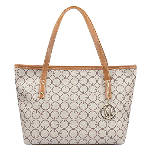 Micom Casual Signature Printing Pu Leather Tote Shoulder Handbag with Metal Decoration for Women (G Style)