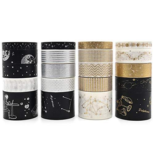 Washi - Juego de 20 rollos de cinta decorativa de papel dorado con varios patrones decorativos de constelación luna y estrella, cinta Washi para bricolaje manualidades álbumes de recortes diarios