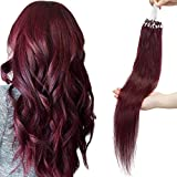 Extension Loop 1g Rajout Cheveux a Froid 50 Meches Extension Anneaux Cheveux Naturelle 100% Remy Human Hair Easy Pose Loops Micro Beads Ring - 22'/55CM 99J#Vin rouge