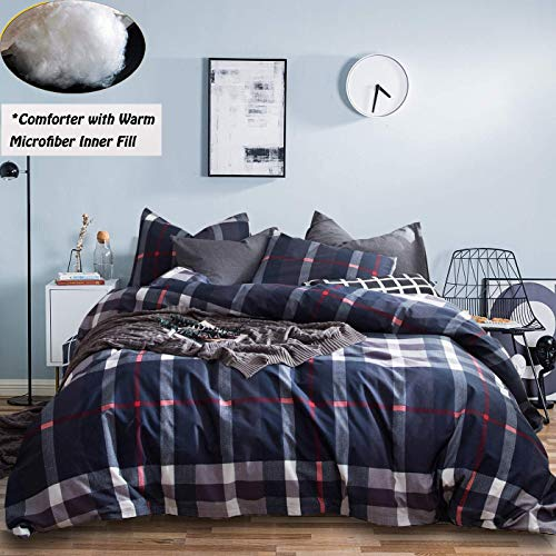 Jumeey Buffalo Plaid Comforter Set Queen Navy Blue Brown Grid Gingham Bedding Full White Dark Red Multicolor Checkered Comforter Sets Full Men Boys Adults Teen Warm Cotton Comforter Blanket Queen Size