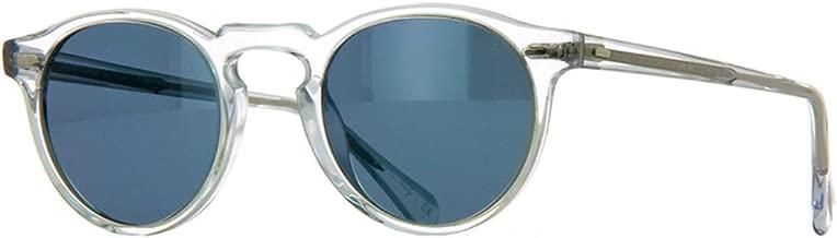 Oliver Peoples Gregory Peck 47mm Round Acetate Unisex Sunglasses (Crystal/Indigo Photochromic 1101R8)