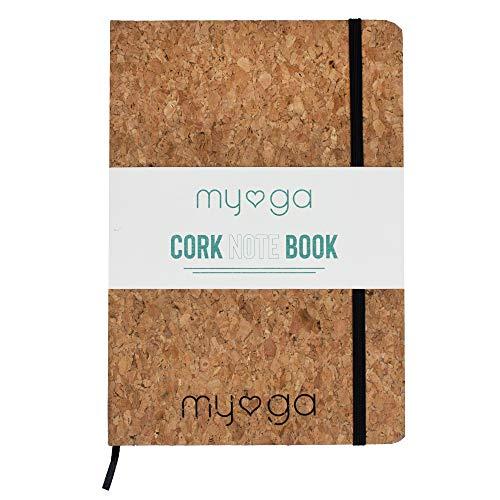 Myga RY1089 Notizbuch-Tagebuch mit Kork-Umschlag - Umweltfreundliches A5- Naturkork-Hardcover mit Seitenteiler und liniertem Papier für Heim und Büro