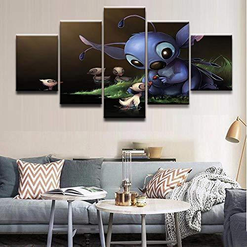 Home Dekorative Wohnzimmer Hd Gedruckt Bilder 5 Stücke Film Lilo & Stitch Poster Leinwand Malerei Einzigartige Poster Wandkunst(With Frame size)