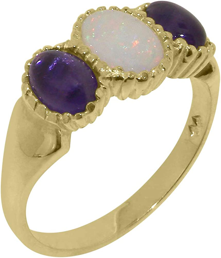 9k Yellow Gold Natural Opal & Amethyst Womens Trilogy Ring - Sizes 4 to 12 Available