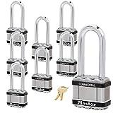 Master Lock Magnum Padlock - 2' W x 2-1/2'L Shackle, Eight (8) Keyed Alike Locks M5NKALJSTS-8 w/BumpStop Technology