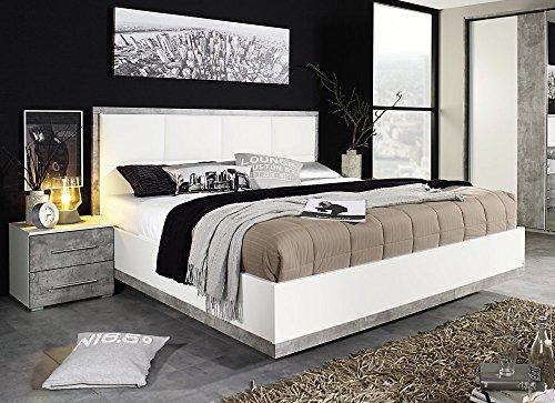Rauch Bett mit Polster-Kopfteil Siegen A9M12.8072.80 | In Alpinweiß und Grau | 180 x 200 cm