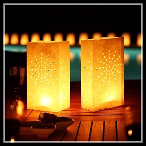 Joinwin50 White Luminary Bags-Sunburst Design-Wedding,Reception, Party and Event Decor - Flame Resistant Paper - Luminaria-light Holder Luminaria Candle Bag Christmas Festival Outdoor home Decoration