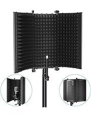 Neewer マイク分離シールド 折り畳み式 三つ折り スタジオマイク吸音フォームリフレクター コンデンサーマイク、スタジオレコーディング機器に対応(黒)